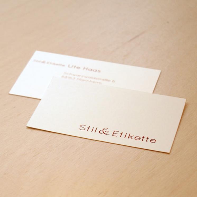 Stil & Etikette Visitenkarte